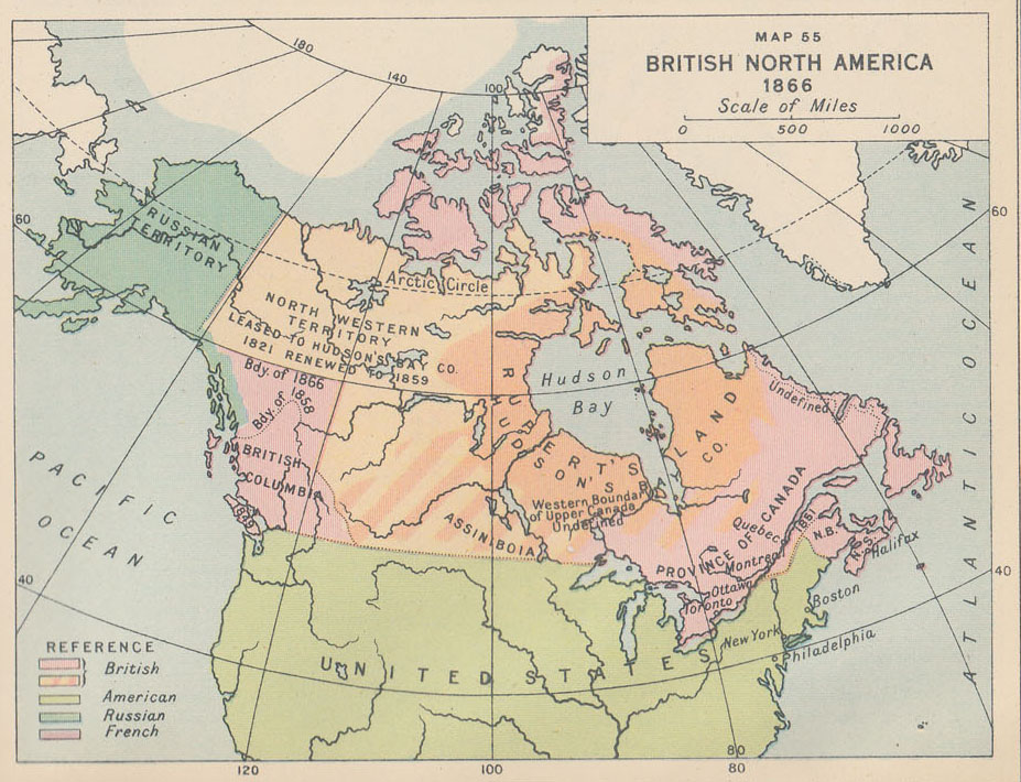 Map Of Canada In 1873.An Historical Atlas Of Canada