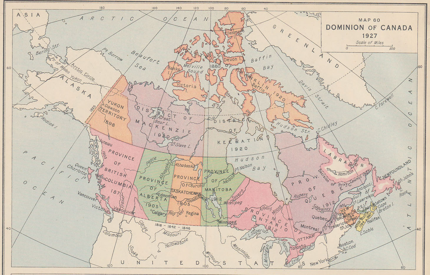 Map Of Canada 1905.An Historical Atlas Of Canada