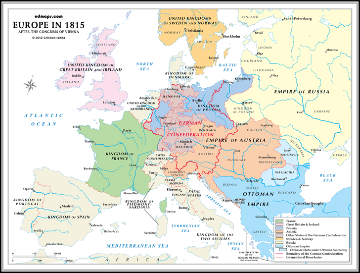 History maps europe after the congress of vienna 1815 sciox Choice Image