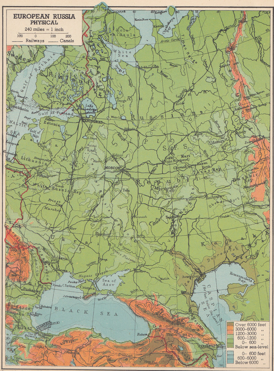 European Russia Physical - Physical map of russia