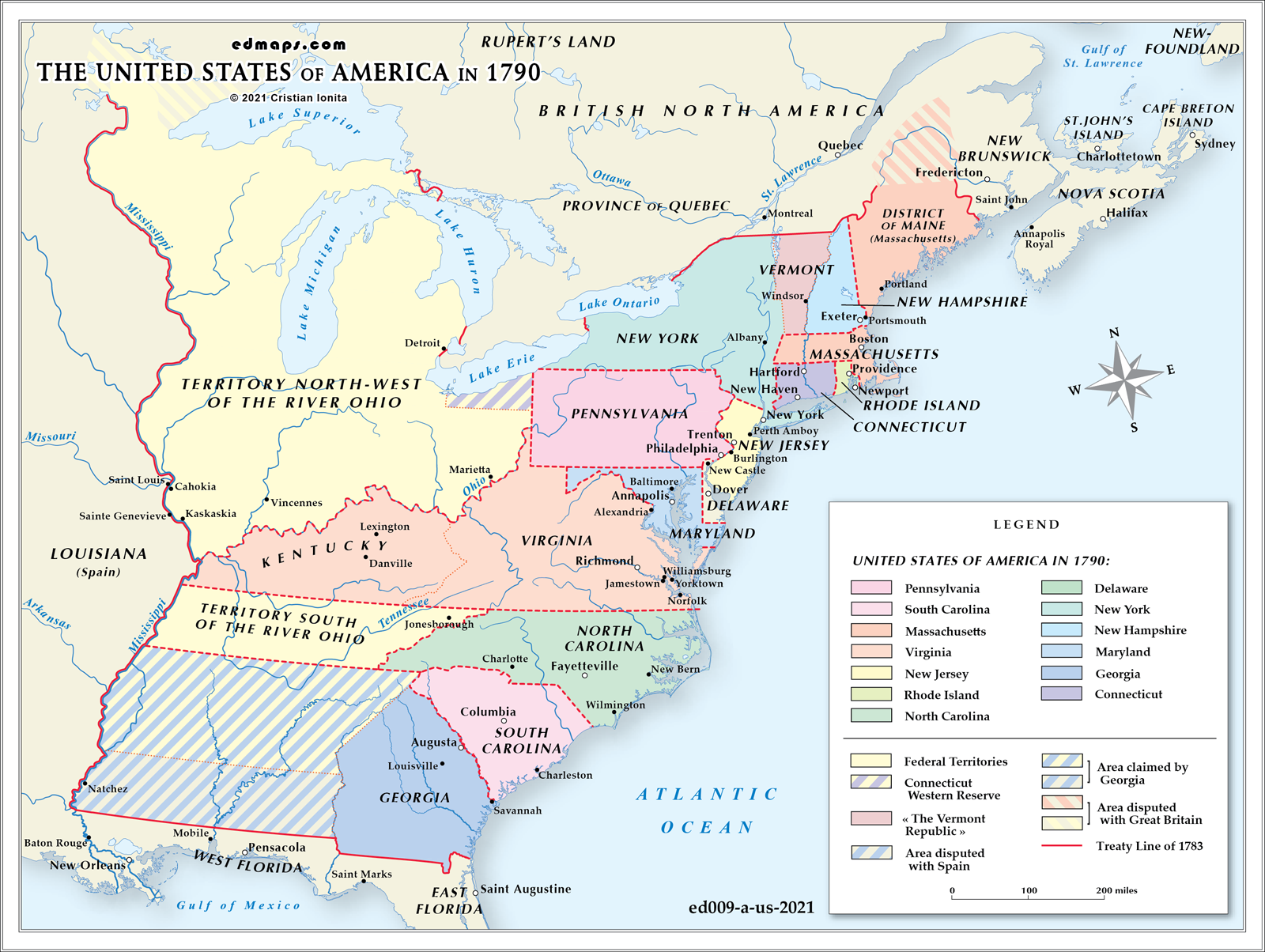 USA - Map of us in 1790