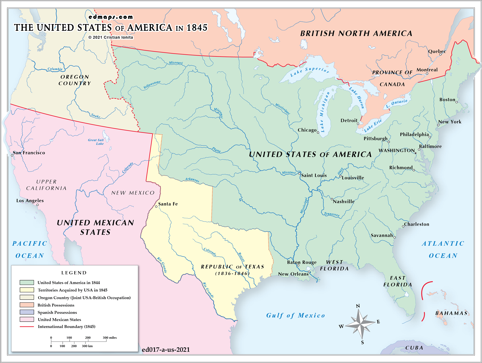 USA - Map of us 1845